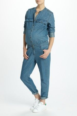 24c72f578e01b Lexie Long Sleeve Denim Jumpsuit | เสื้อผ้าน่าใส่ | Maternity jeans ...