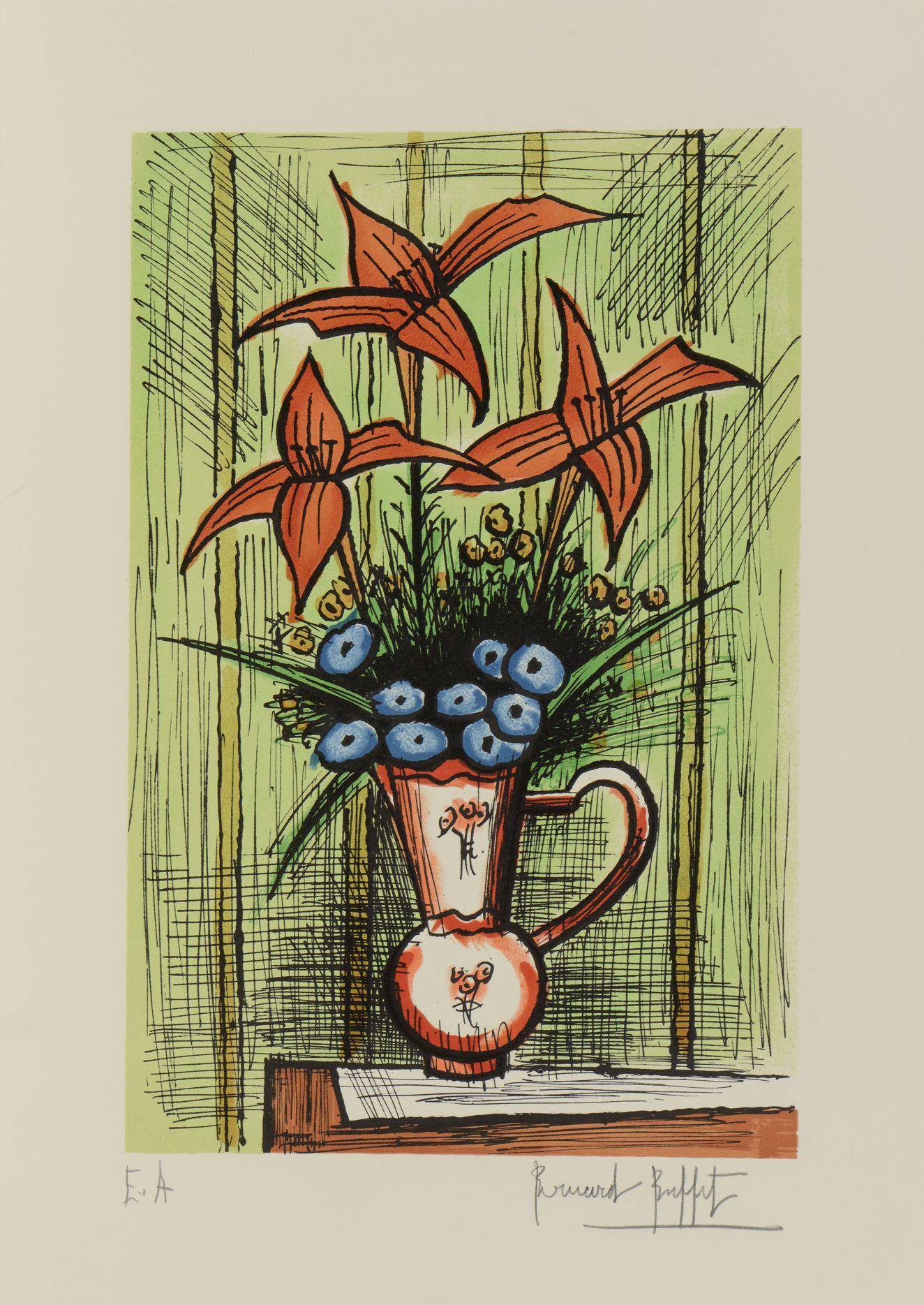 BUFFET Bernard (1928-1999) Bouquet de fleurs bleues et lys rouges ...