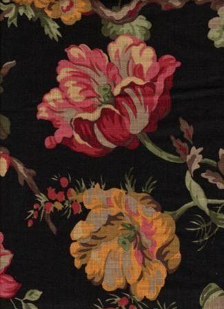 Bloomsbury Black Linen Blend Floral Upholstery Fabric Fabric Yard Upholstery Fabric