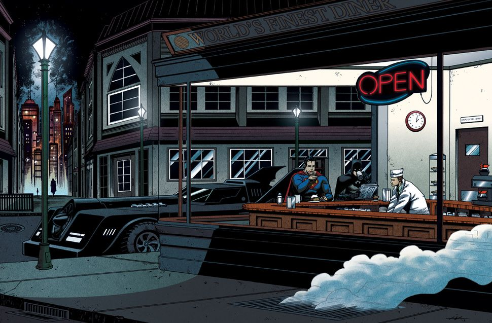 Batman And Superman Are Edward Hopper S Nighthawks With Images