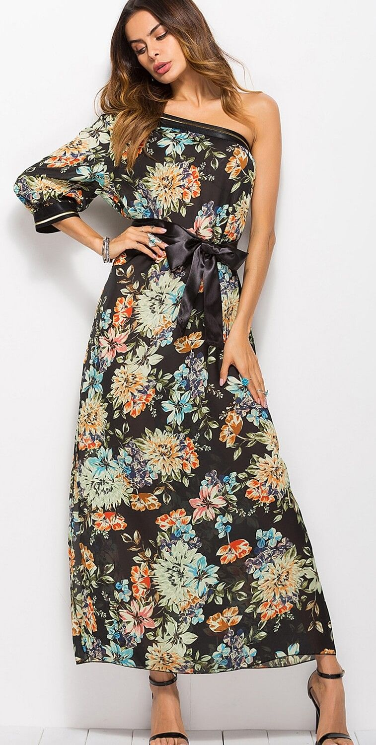 Womens Off shoulder Long Boho Gypsy Floral Summer Beach Maxi Hippie Dress Gown