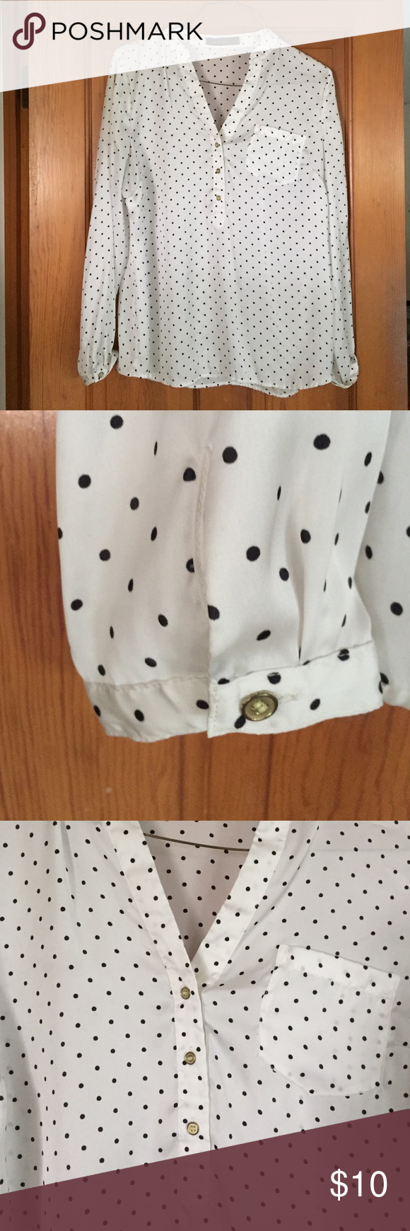 White and black polka dot blouse Long sleeved blouse with black polka dot pattern and gold button embellishments on front and sleeves. 100% polyester. The Limited Tops Blouses