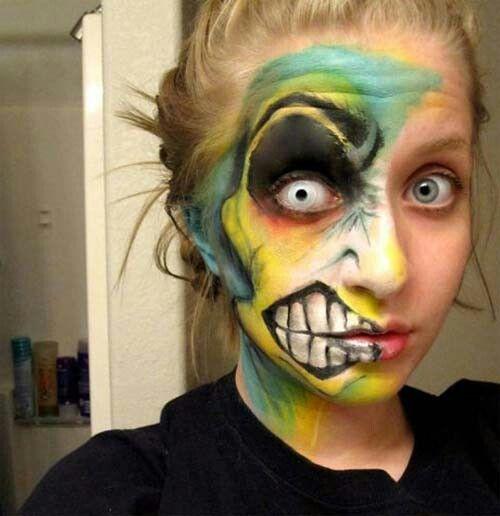 Cartoon Half Face 2 With Images Crazy Halloween Makeup Face