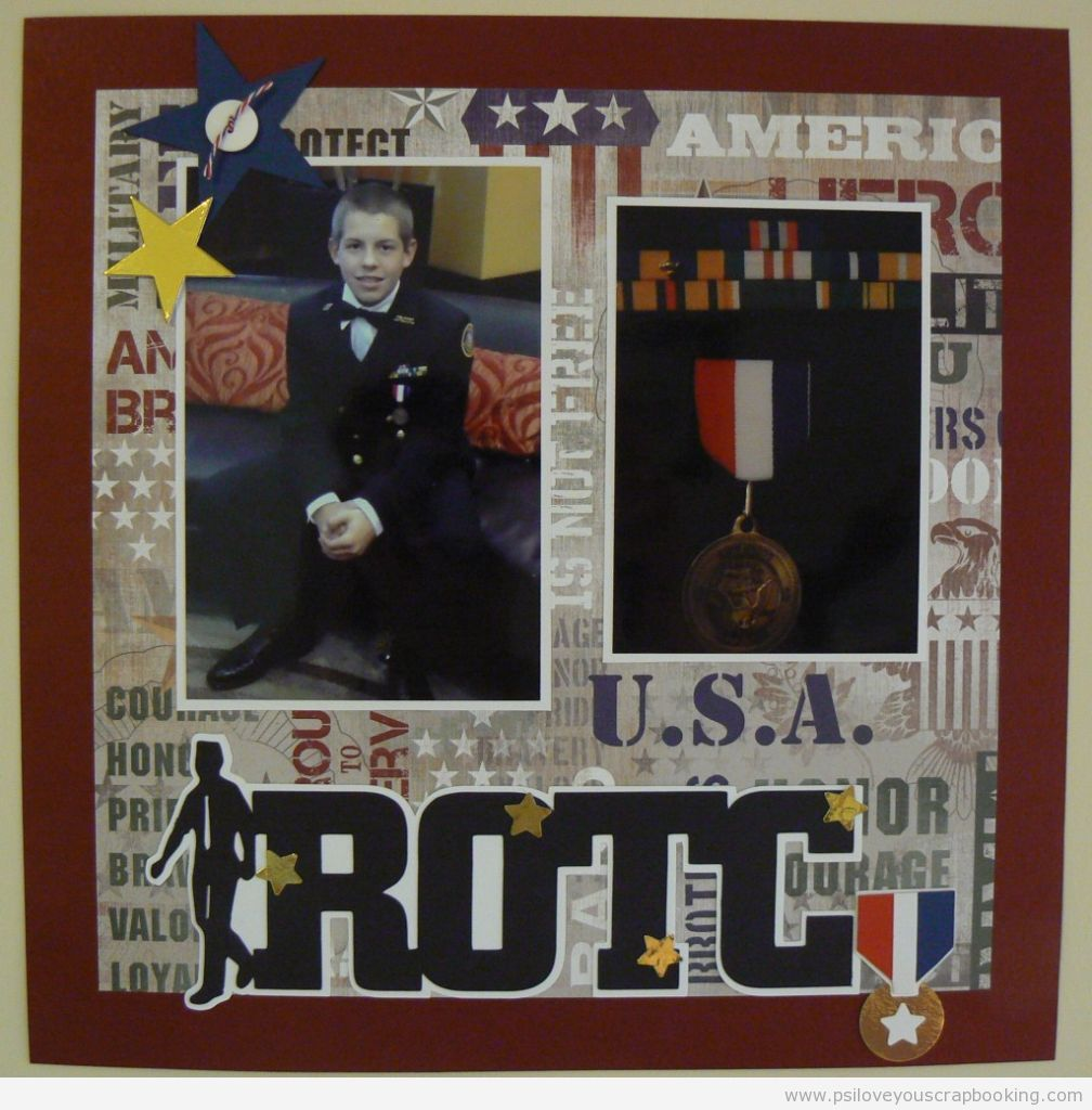 Scrapbook ideas military - Rotc Scrapbook Page Layout Great Title With Stars Medal Buttons Military And Patriotic Papers Great Layout Could Be For Military As Well