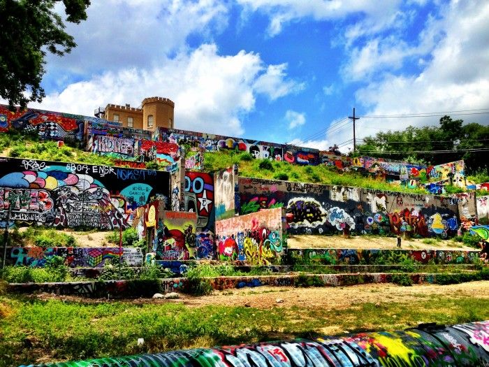 Austin embraces their graffiti. Check it out at the Baylor Street ...