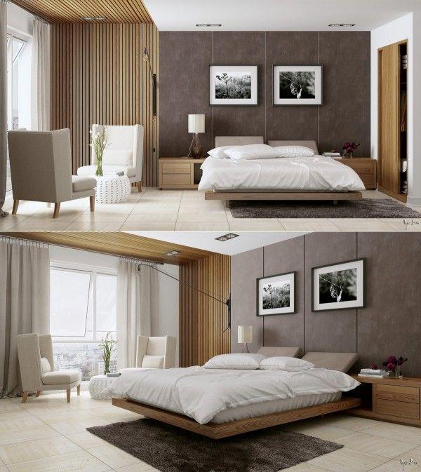 침실에 목재 판넬이 잼있다.  안방  Pinterest  침실, 안방 및 침대