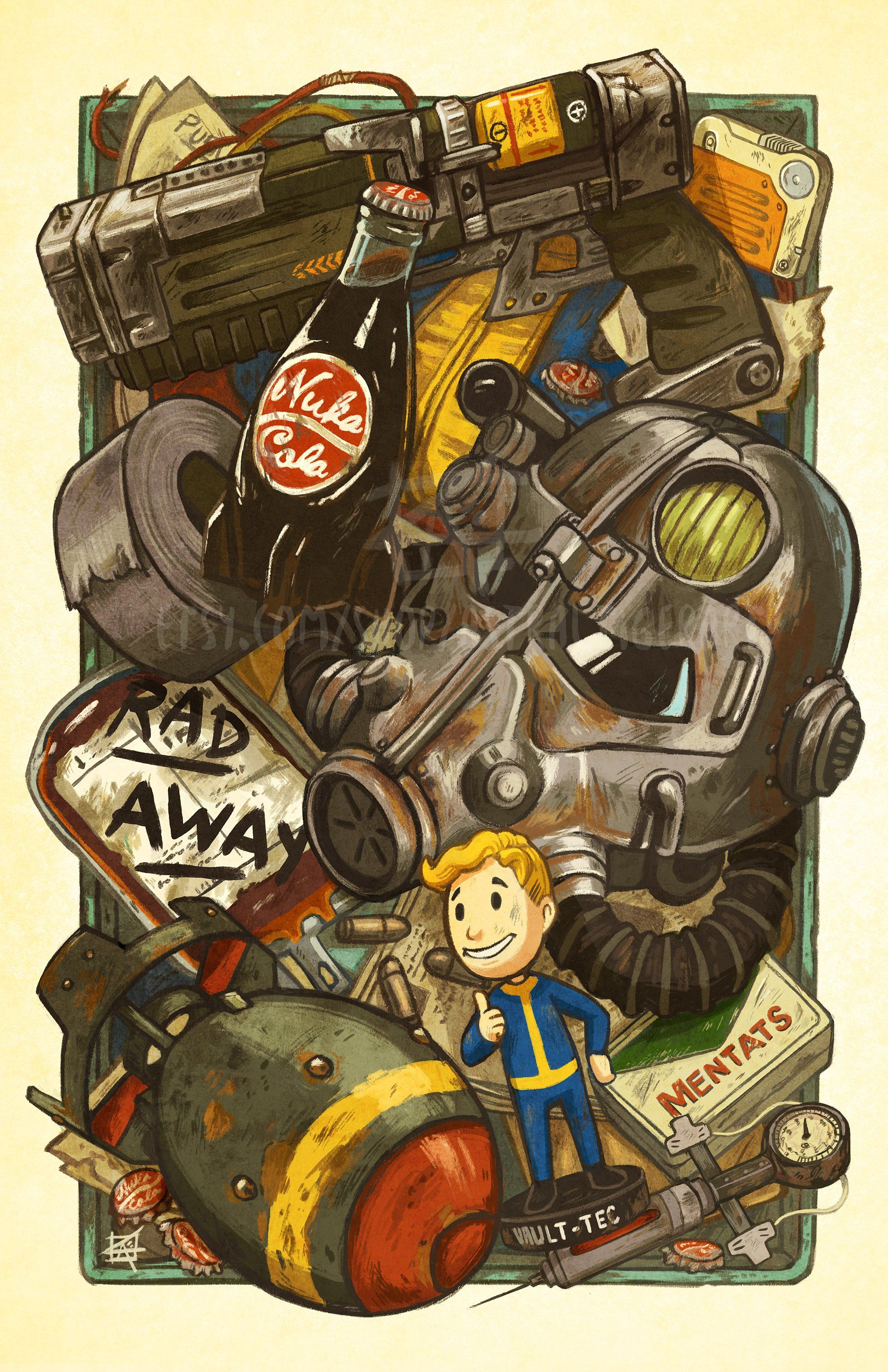 Wasteland Cache 11x17 Poster Print Fallout Fan Art With
