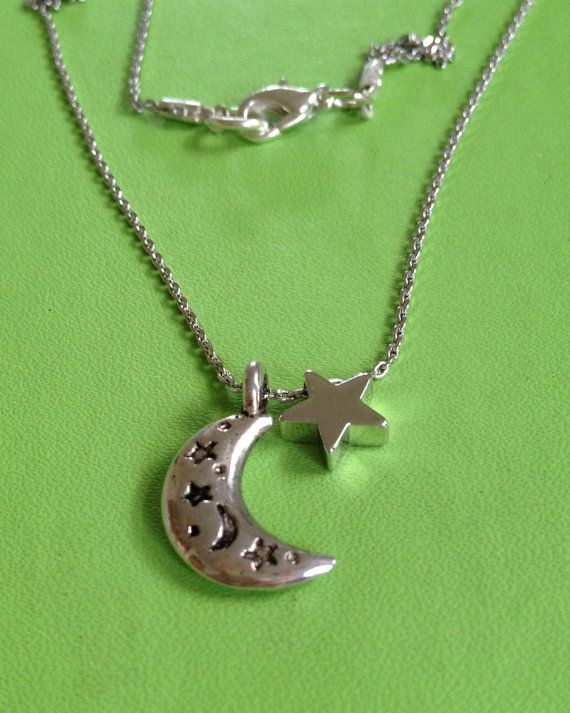 Silver New Moon and Star Neclace by joytoyou41 on Etsy