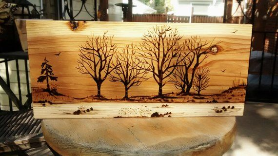 Pyrography Wood Burning Art Mountain Abstact Pine Scene Landscape Art Bonzai Art Abstact Creativite Pyrogravure