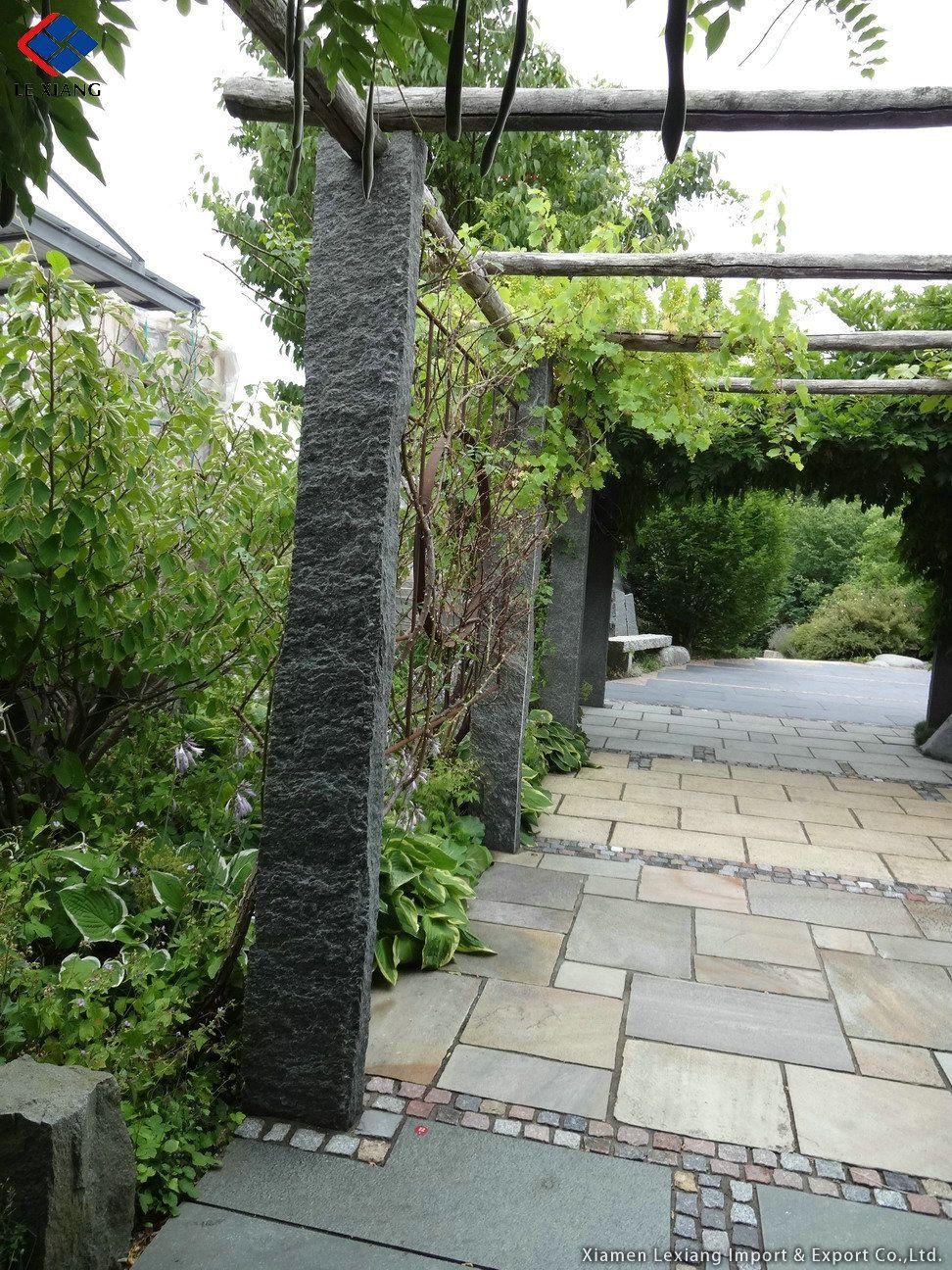 Schwarz Gelander Stein Garten Palisaden Gartenbau