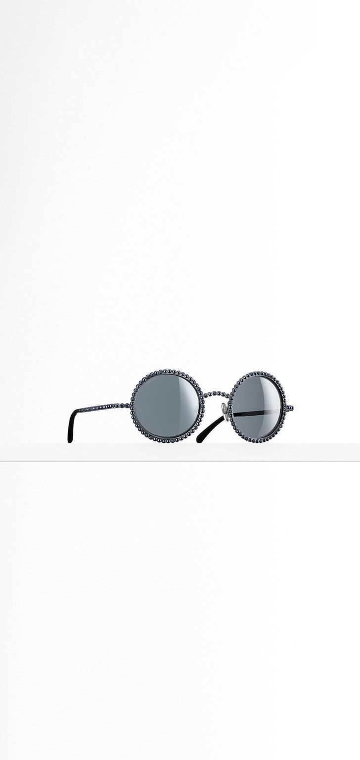 ac283508fca85 Round metal sunglasses paved with... - CHANEL