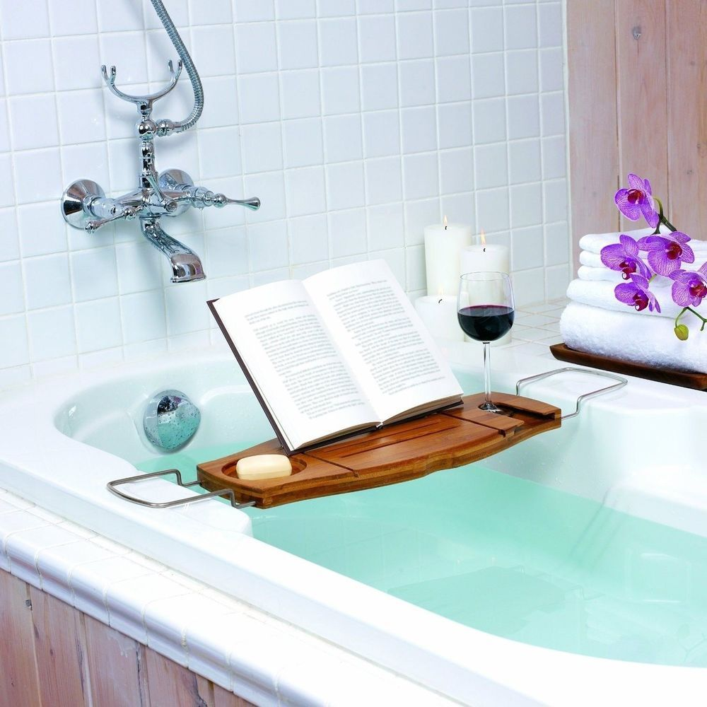 Umbra Aquala Bamboo and Chrome Bathtub Caddy Book Holder Wine Holder ...
