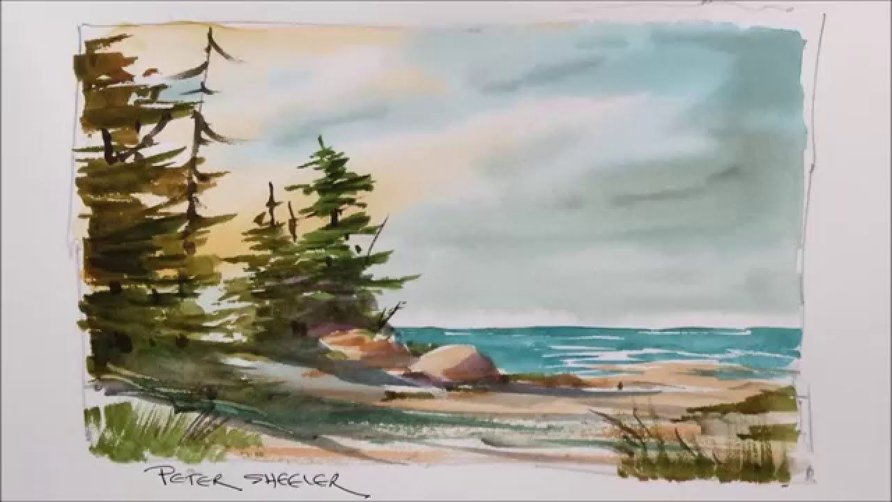 A Quick And Fun Watercolor Demonstration Of A Lake Shoreline