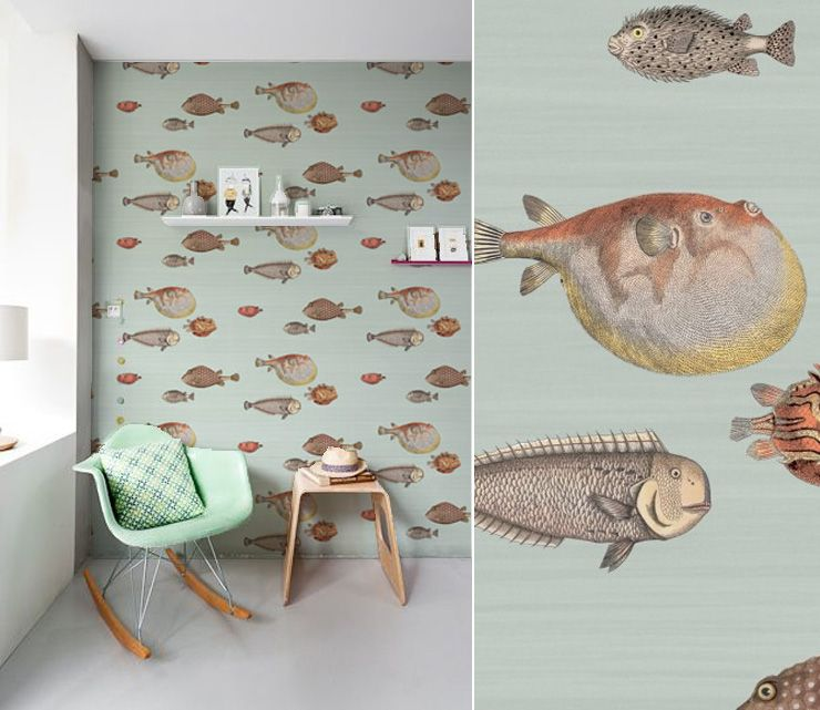 papier peint poissons cole and son eenie minnie pinterest kids rooms room and wallpaper ideas. Black Bedroom Furniture Sets. Home Design Ideas