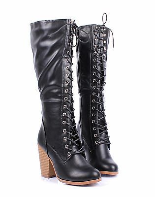 2 Tone Lace Up Side ZIp Combat Military Over the Knee Women High Heels Boots