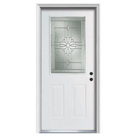 Reliabilt Laurel Half Lite Decorative Glass Left Hand Inswing Primed Steel Prehung Solid Core Entry Door Common 36 In Entry Doors Reliabilt Glass Decor