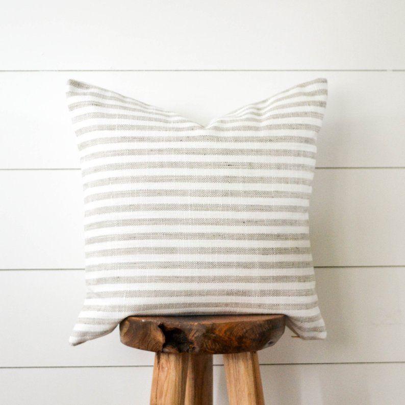 Grey striped pillow woven gray stripe decorative pillow