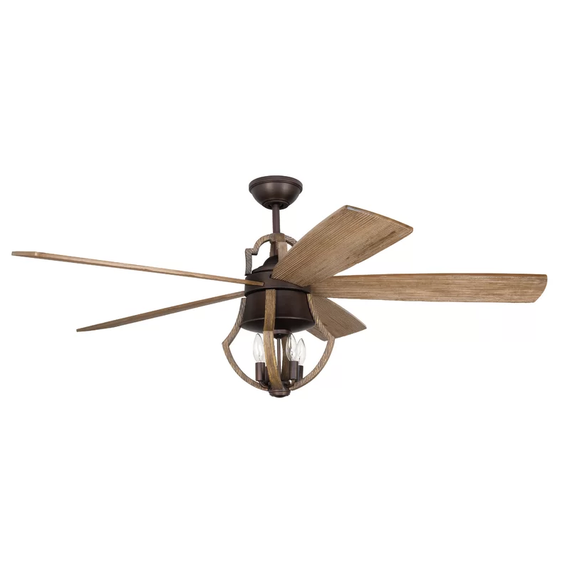 """56"""" Hales 5 Blade Ceiling Fan with Remote, Light Kit"""
