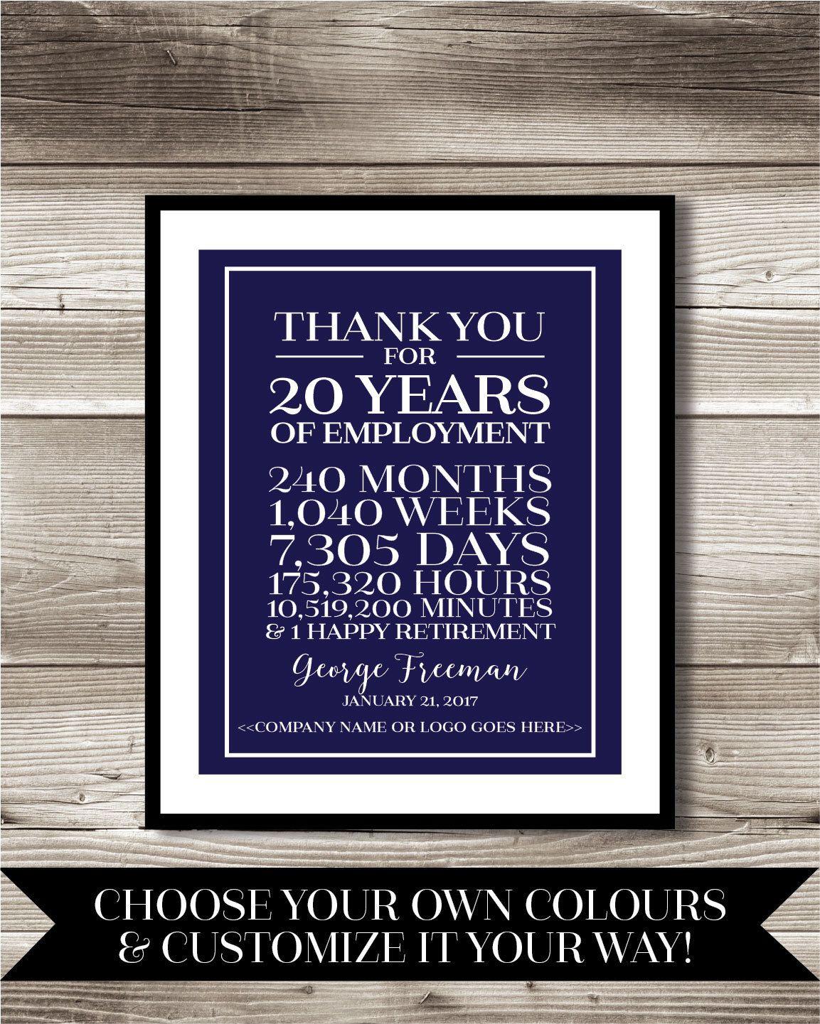 20 Year Work Anniversary Retirement Print Gift Idea Etsy Work Anniversary 35 Year Anniversary Printed Birthday