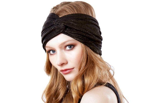 Wide Soft Headband Evening Hair Accessory Turban Hat Metallic Headband Gold Metallic Turban Headband #eveninghair