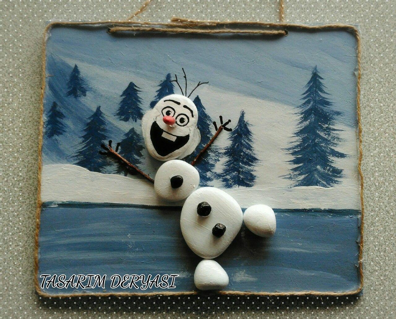 Tas Boyama Olaf Frozen Karlarulkesi Kardan Adam Noel
