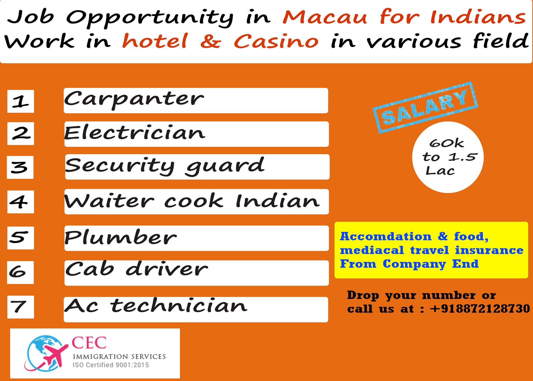 job oppurtunity in Macau Work in hotel & Casnio in