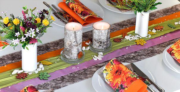 Tischdeko Braun Pink Orange Grun Tischdeko Sommer Pinterest
