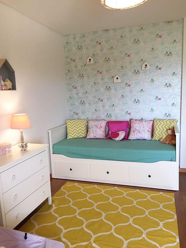 Baby 39 s room girl room ikea ikea bed hemnes mint yellow pink birds birds wallpaper - Ver camas en ikea ...