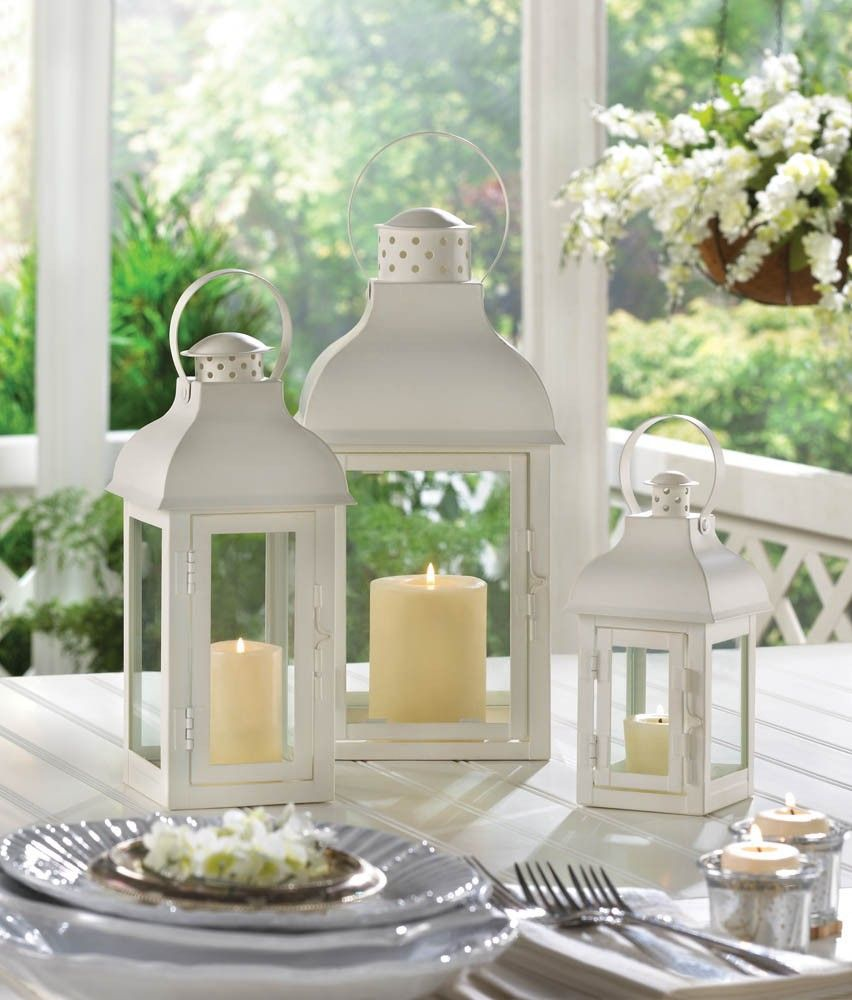 Medium white gable candle lantern wedding centerpieces