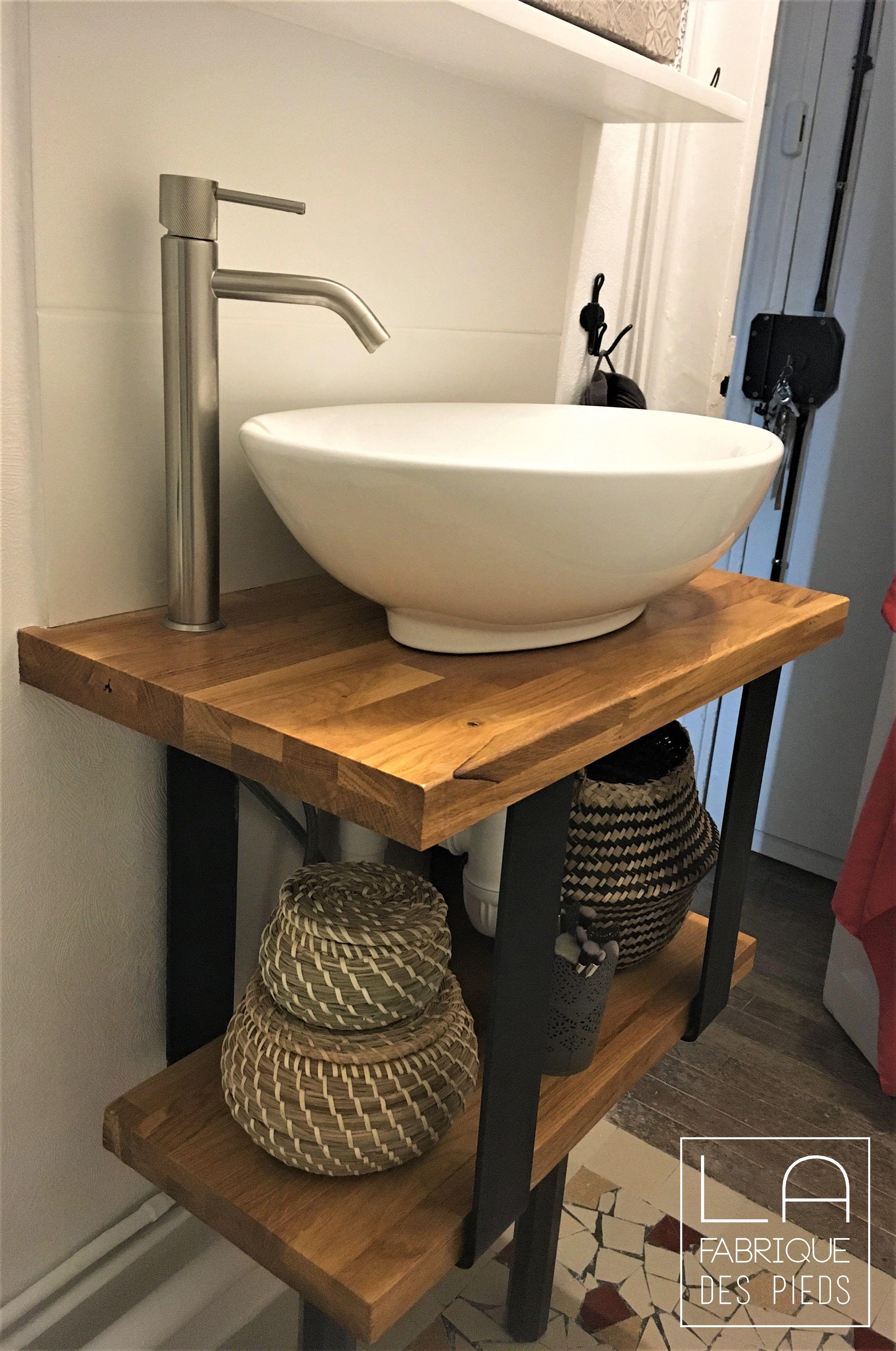 Vasque Sur Pied Avec Meuble pied fer plat fin sur mesure pour banc, table basse en 2020