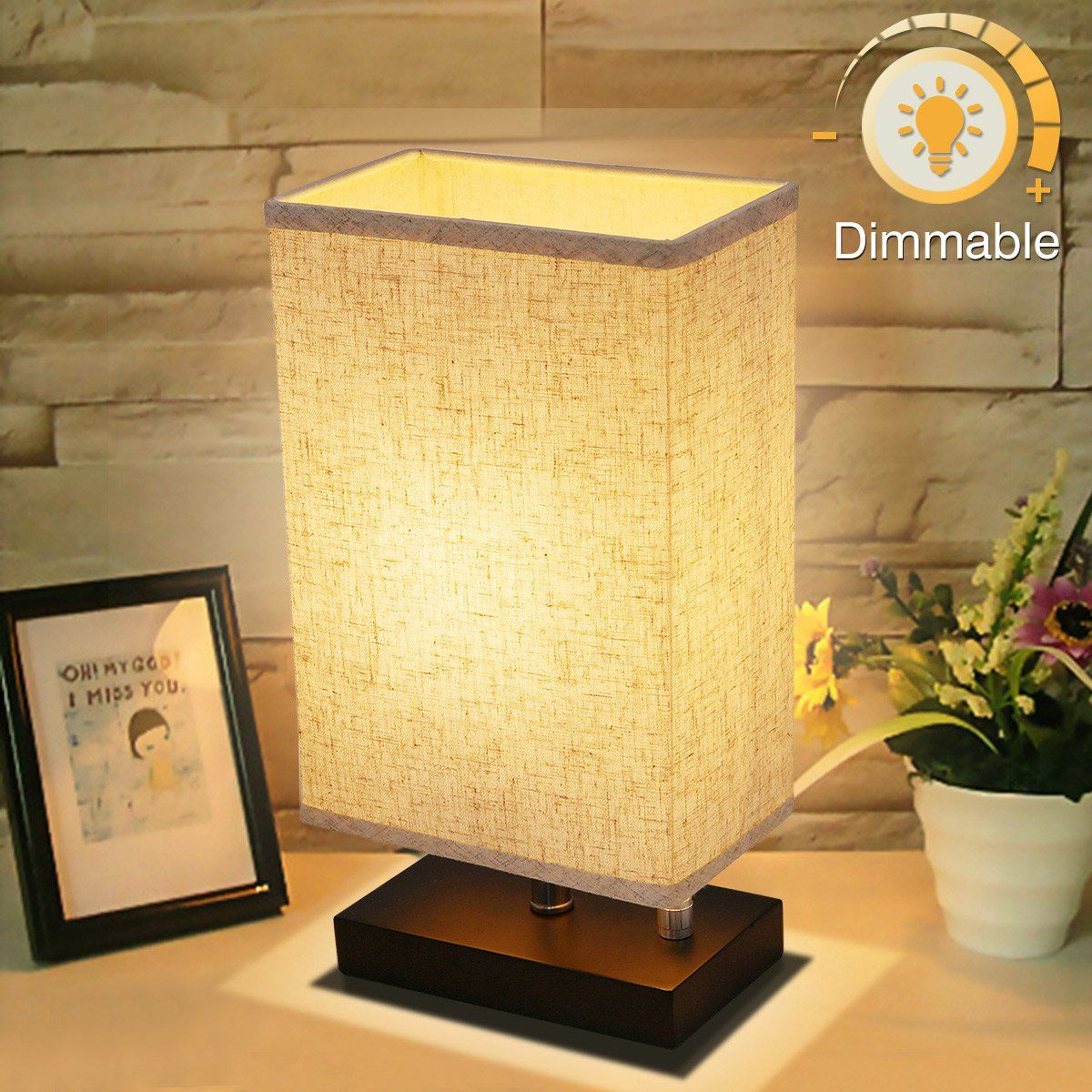nightstand lamp with dimmer cream dimmable bedside table lamp kingso ul listed plug in nightstand lamp with dimmer knob switch e26 fabric shade minimalist solid wooden base for bedroom