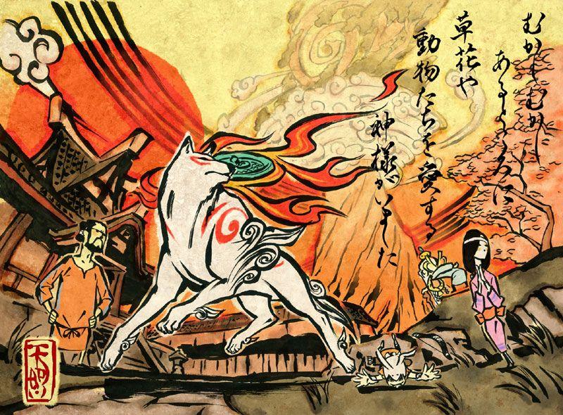 Video Game Art Okami Promotional Art Okami Amaterasu