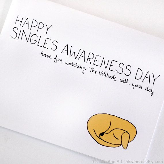 Anti Valentines Day Card Singles Awareness Card by JulieAnnArt – Valentines Cards for Singles
