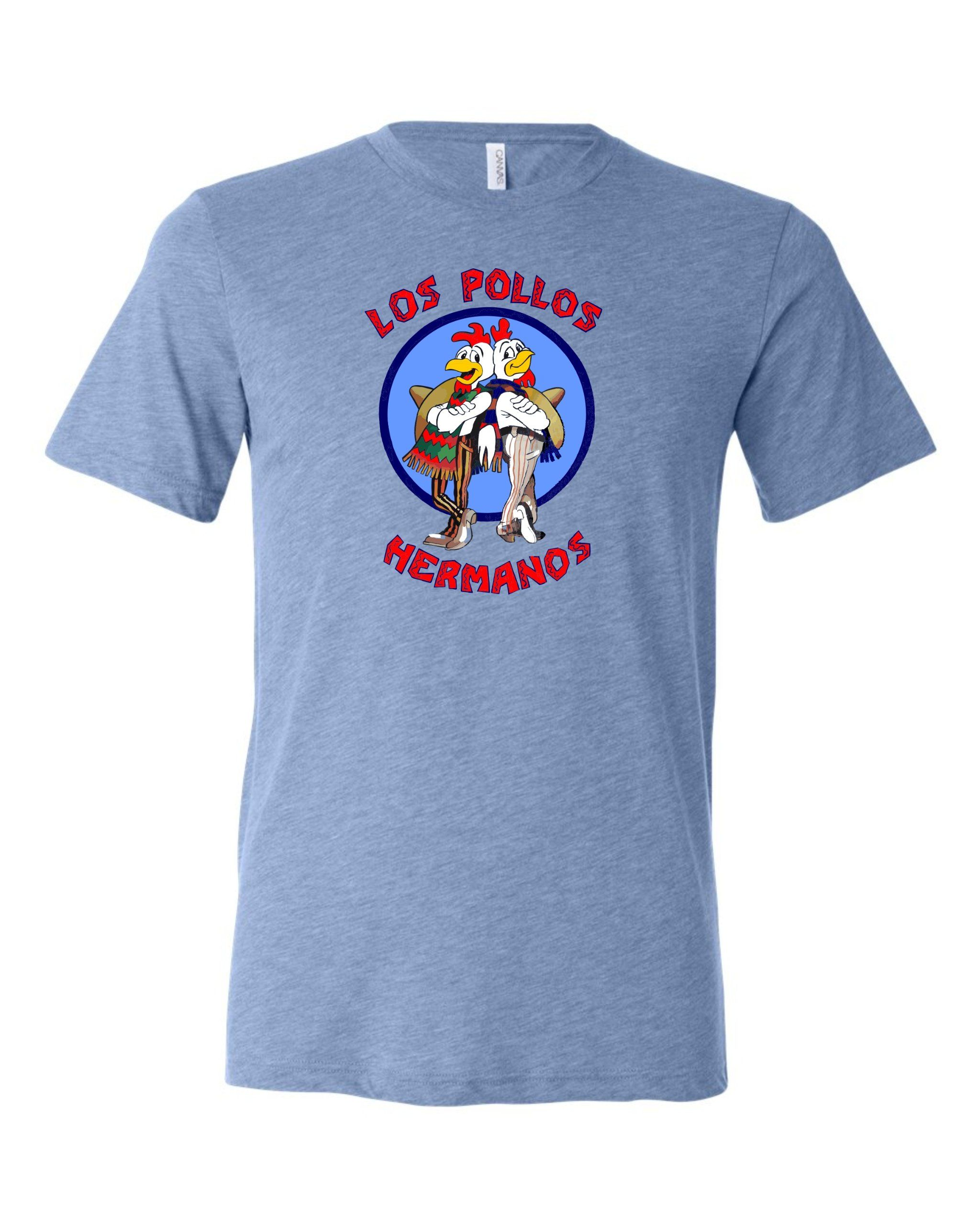 Small Blue Adult Los Pollos Hermanos Breaking Bad Inspired Triblend Short Sleeve T-Shirt