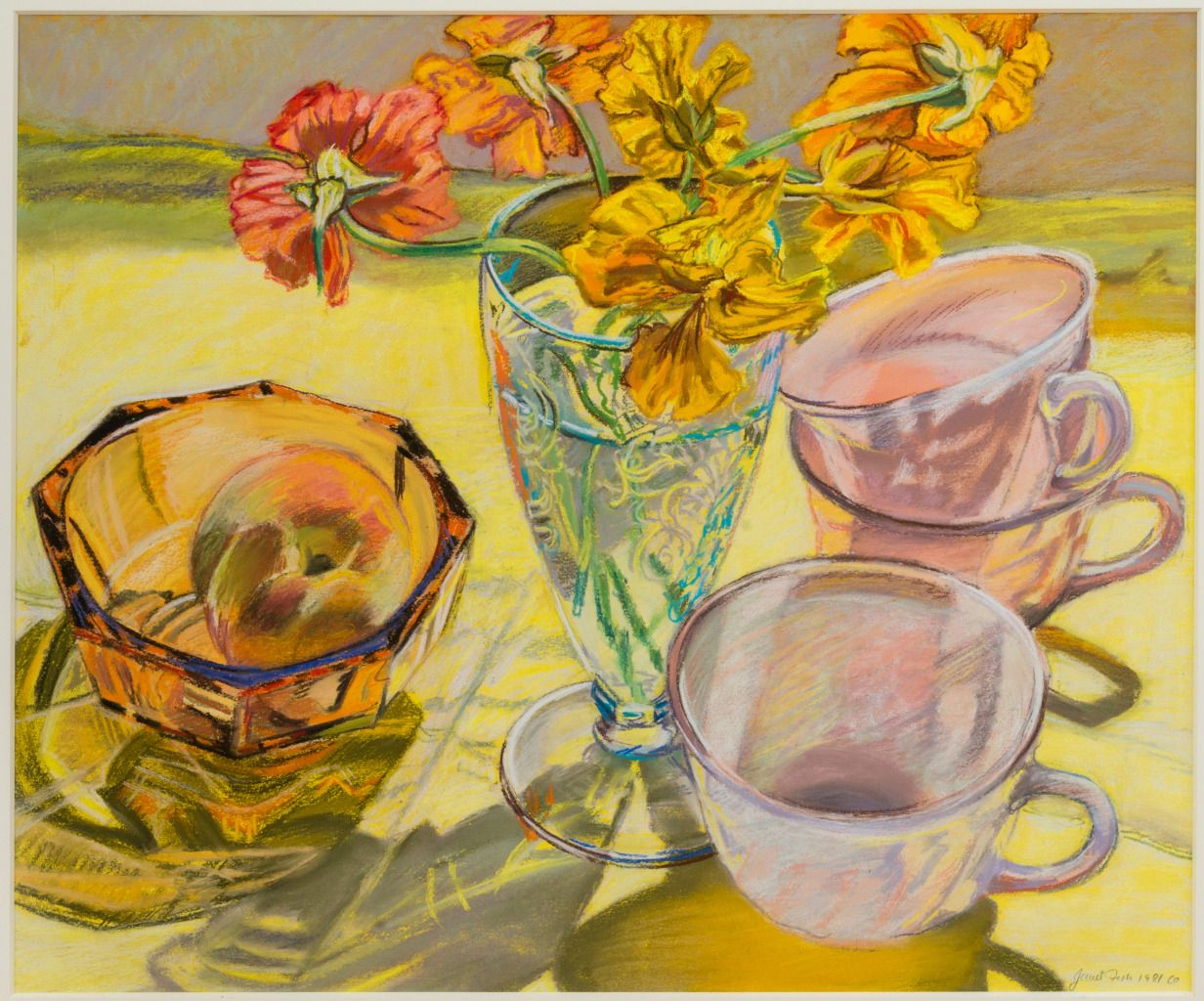 Janet Fish Nasturtiums And Pink Cups 1stdibs Com Still Life Drawing Art Painting Still Life