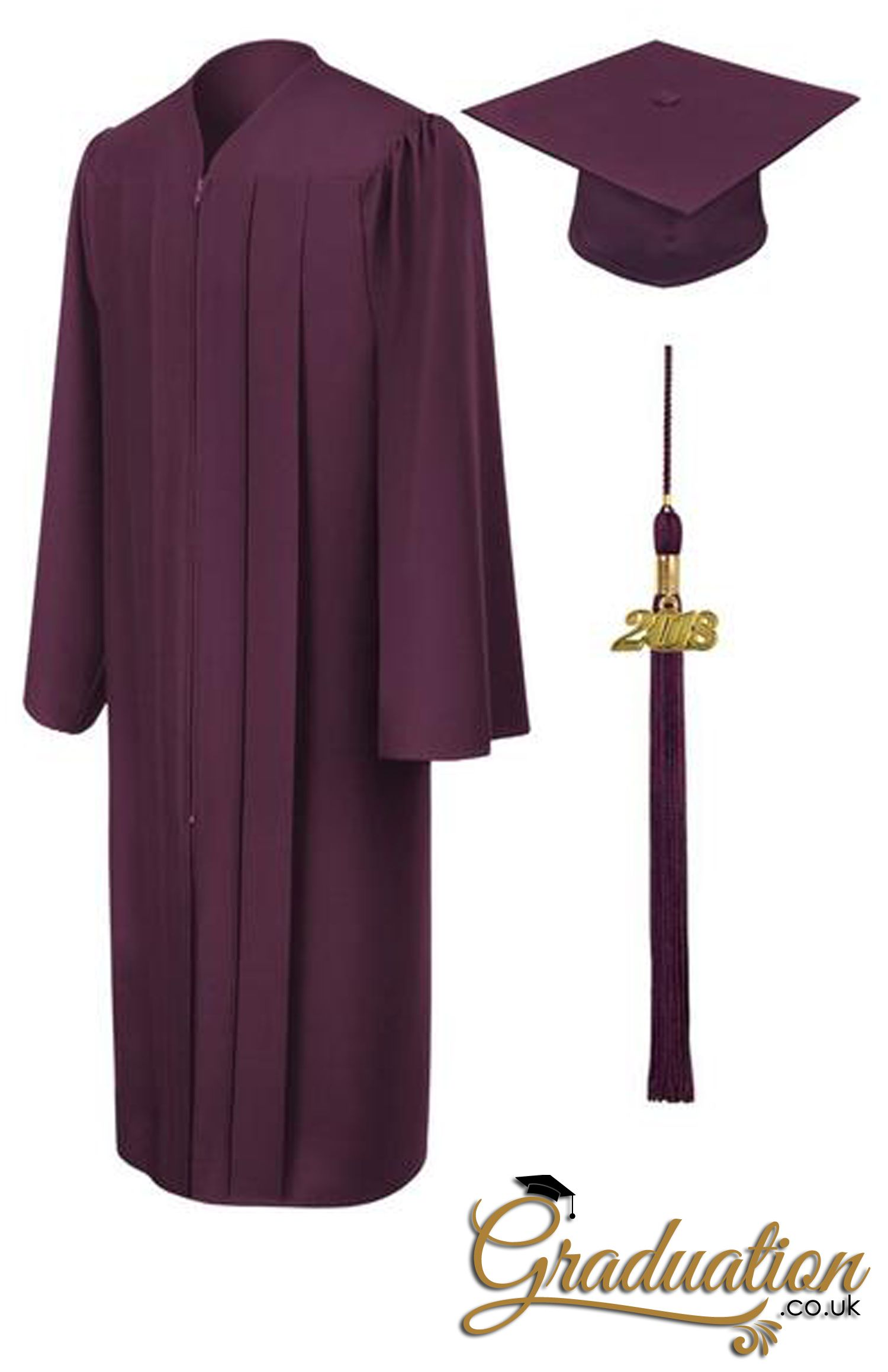 77448458f9c Maroon Primary   Secondary Cap   Gown Maroon finished fabric Matching black graduation  cap is included (one size fits all) High quality tassels and year ...