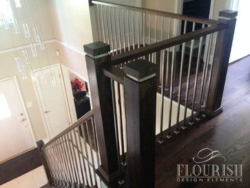 The Eco Newel Post Featured Here With A Stainless Steel Insert In | Modern Newel Post Designs | White | Maple | Banister | Oak | Interior