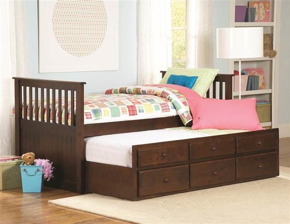 Zachary Espresso Wood Twin/Twin Trundle Bed w/Storage | Standard ...