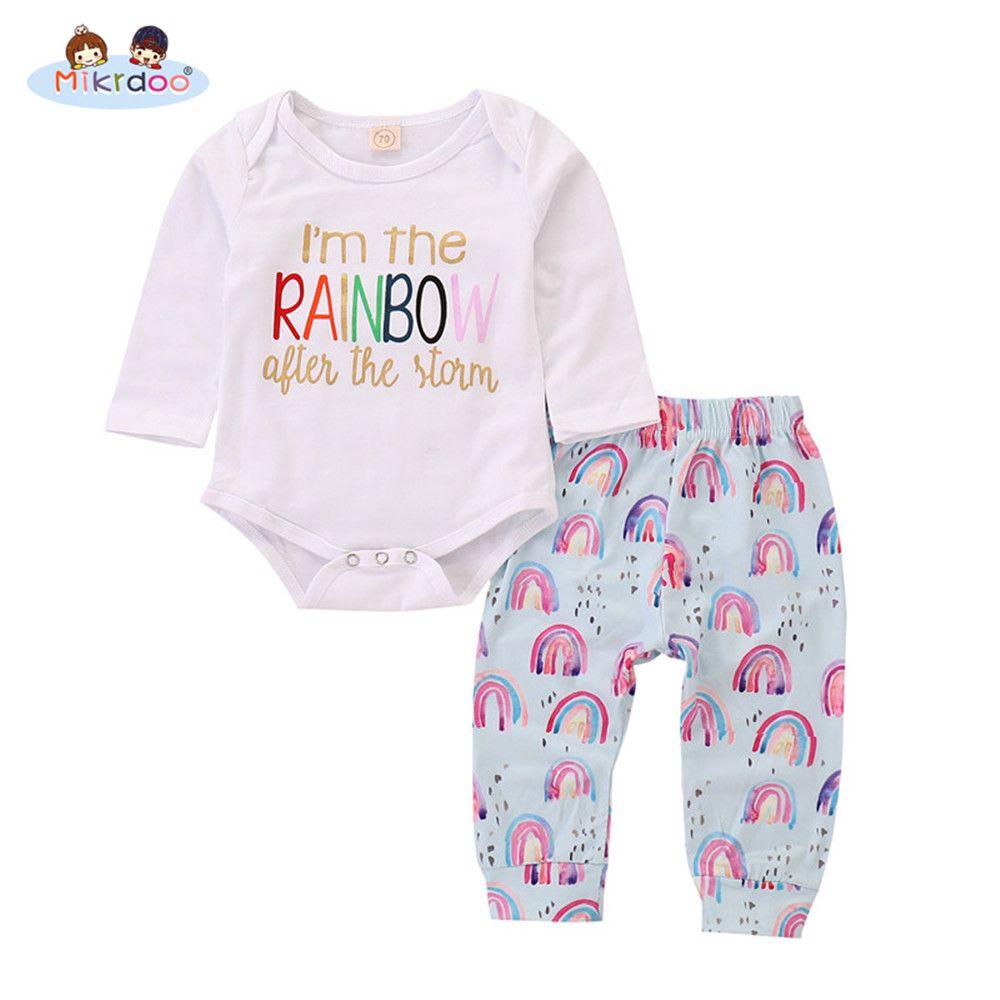 c1bdad1fc3f Toddler Newborn Baby Boy Girl Cute Clothes Set Long Sleeve Letters Printed  Romper Top Rainbow Printed