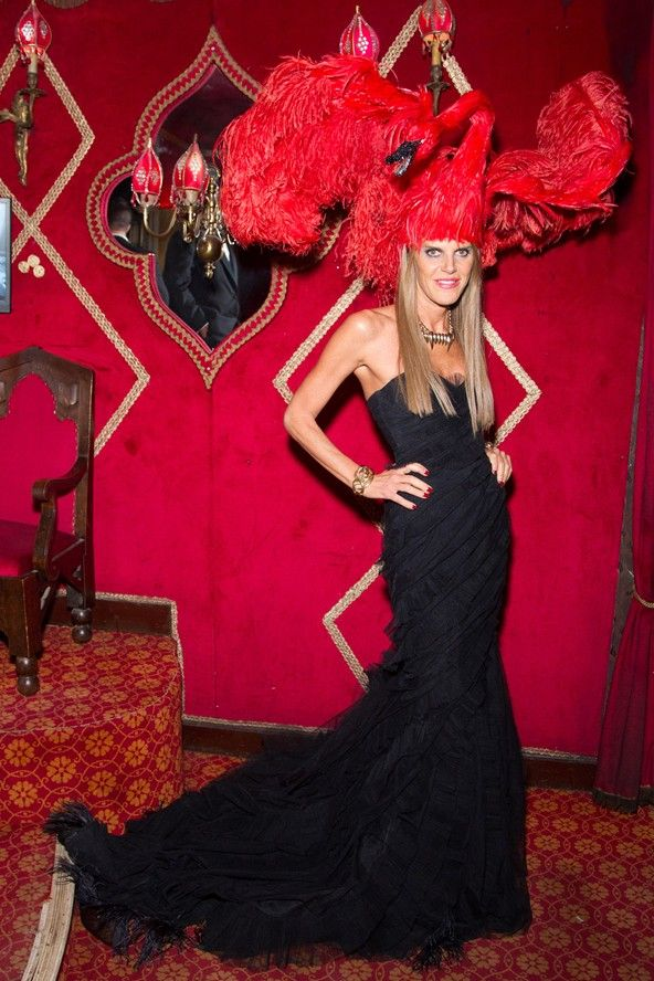 Anna Dello Russo went high fashion for her Vampire Ball ensemble, topping off her look with a giant swan heapiece straight from the Giles spring/summer 2012 catwalk.