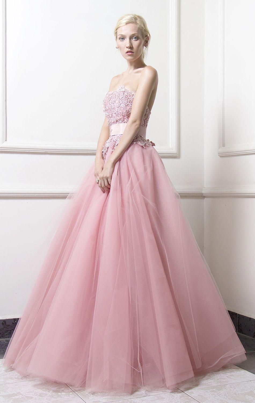 Vestido de ceremonia, confeccionado en tul bordado color rosa ...