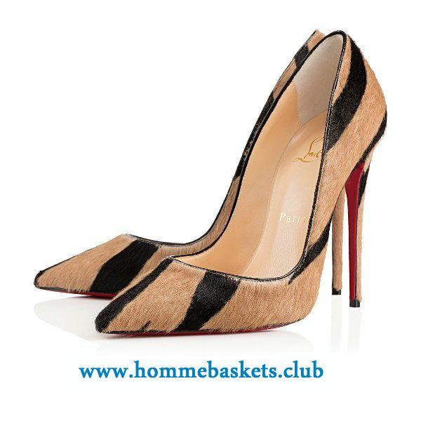 04db831f8450d9 Christian Louboutin Femme So Kate Pony Pikao 120 mm DUNE/NOIR Cl Chaussures  Officiel Sweden