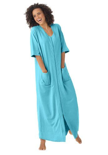 fc5c80c6885 Dreams And Company Plus Size Long Robe In French Terry With Zip Front   31.77 (save  8.00)