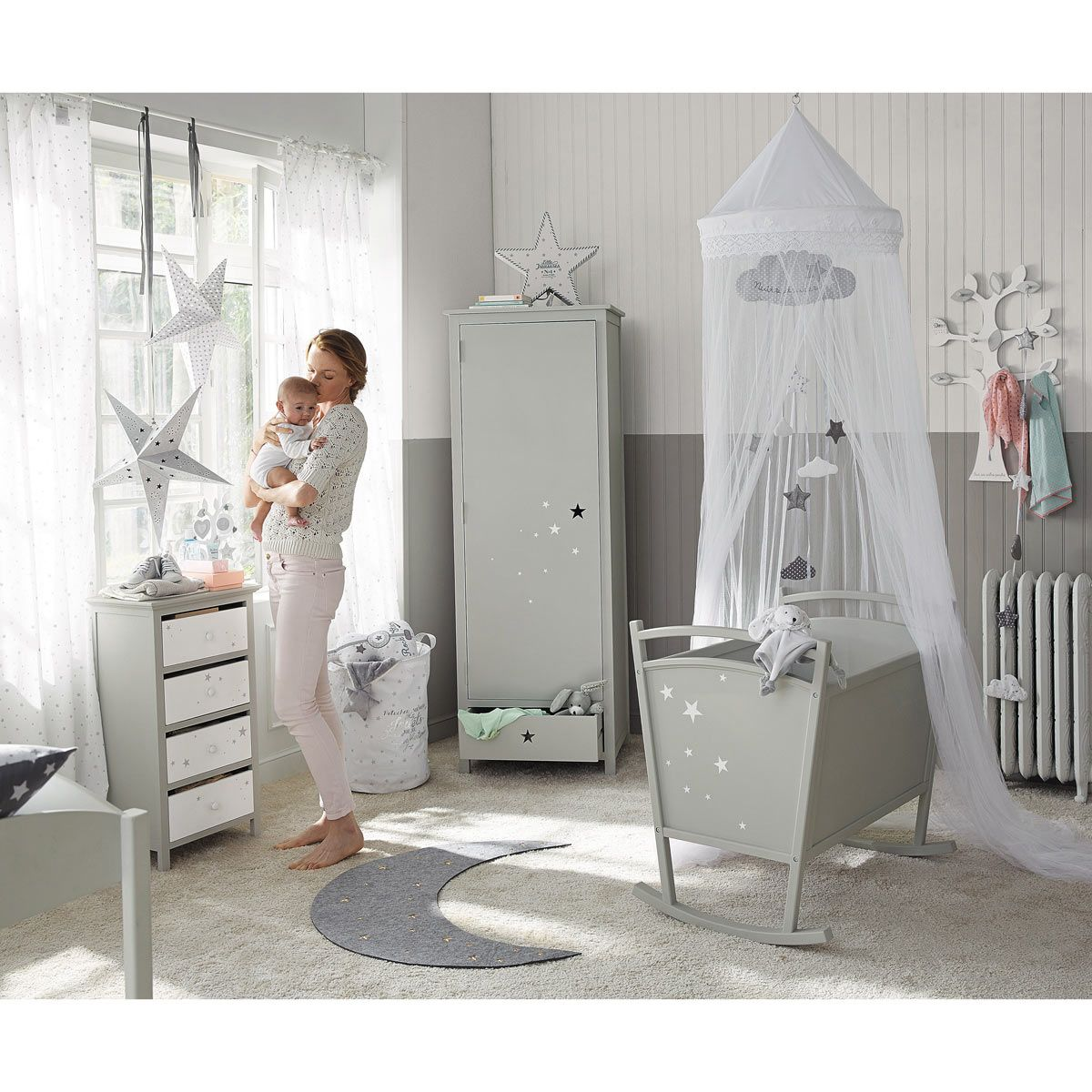 rideau nouettes en coton blanc 102 x 250 cm chambre pour b b pour b b et rideau blanc. Black Bedroom Furniture Sets. Home Design Ideas