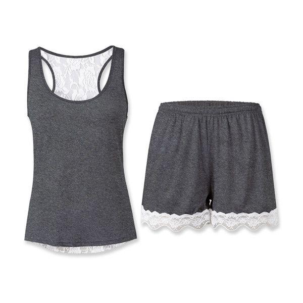 Sunshine Dream Dark Gray Lace-Trim Tank Pajama Set ($17) ❤ liked on Polyvore featuring intimates, sleepwear, pajamas and long pajamas