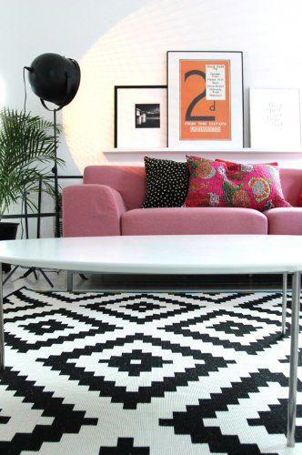 Geometric Ikea Rug In Black And White Kantoor Aan Huis Interieur Woonkamer