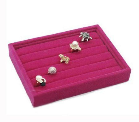 Amazon.com - KLOUD ® Hot Pink velvet 5 rows ring organizer / tray / pad / showcase / display case plus KLOUD cleaning cloth