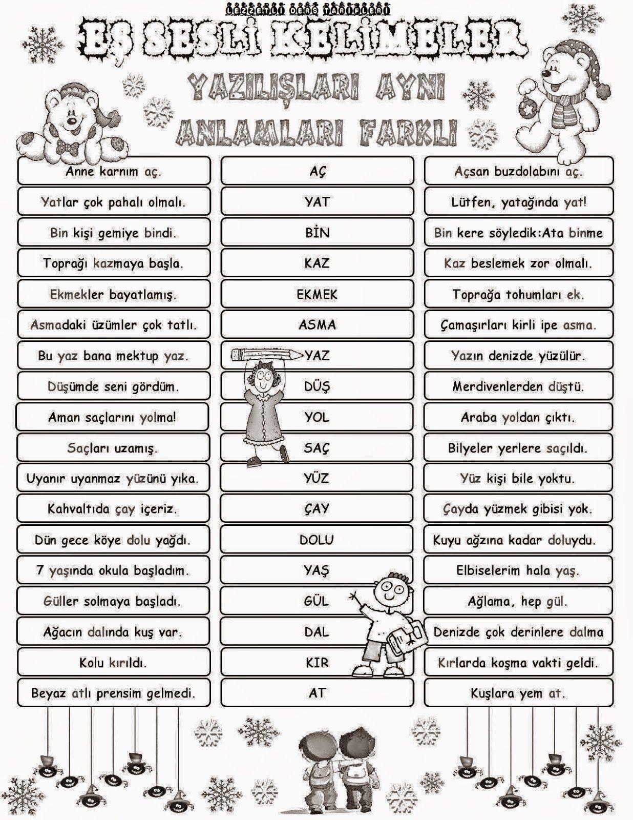 Eş Sesli Kelimeler Pano çalışması Poster Turkish Lessons Learn