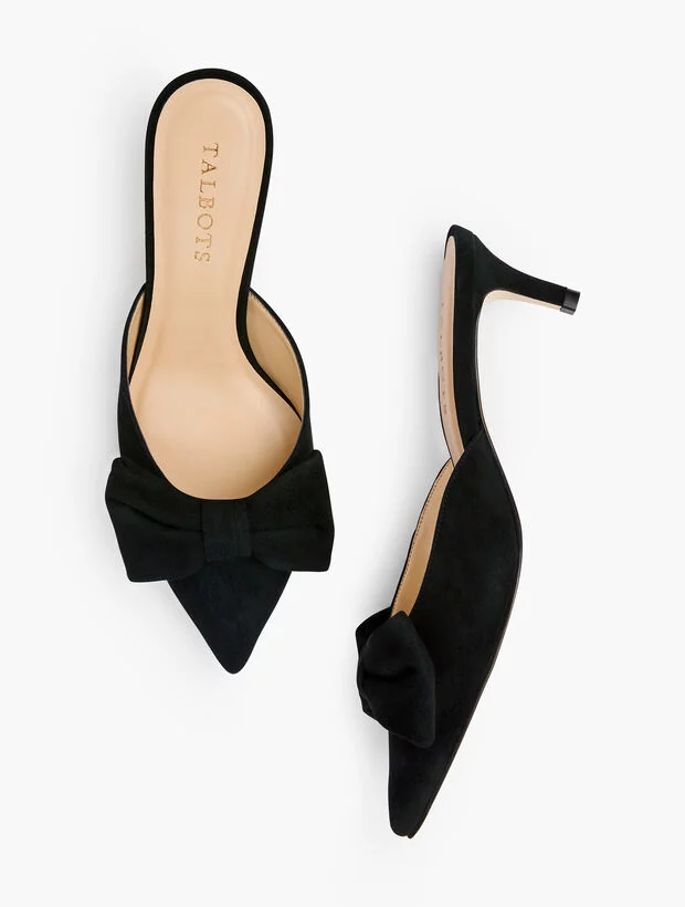 Black Bow Suede Kitten Heel Mules