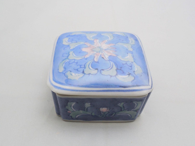 fd99c107e756 Blue floral Ceramic Trinket Dish 3 Vintage Trinket Dish